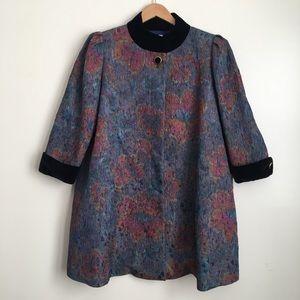 Vintage Boho Watercolor Evening Coat with Velvet